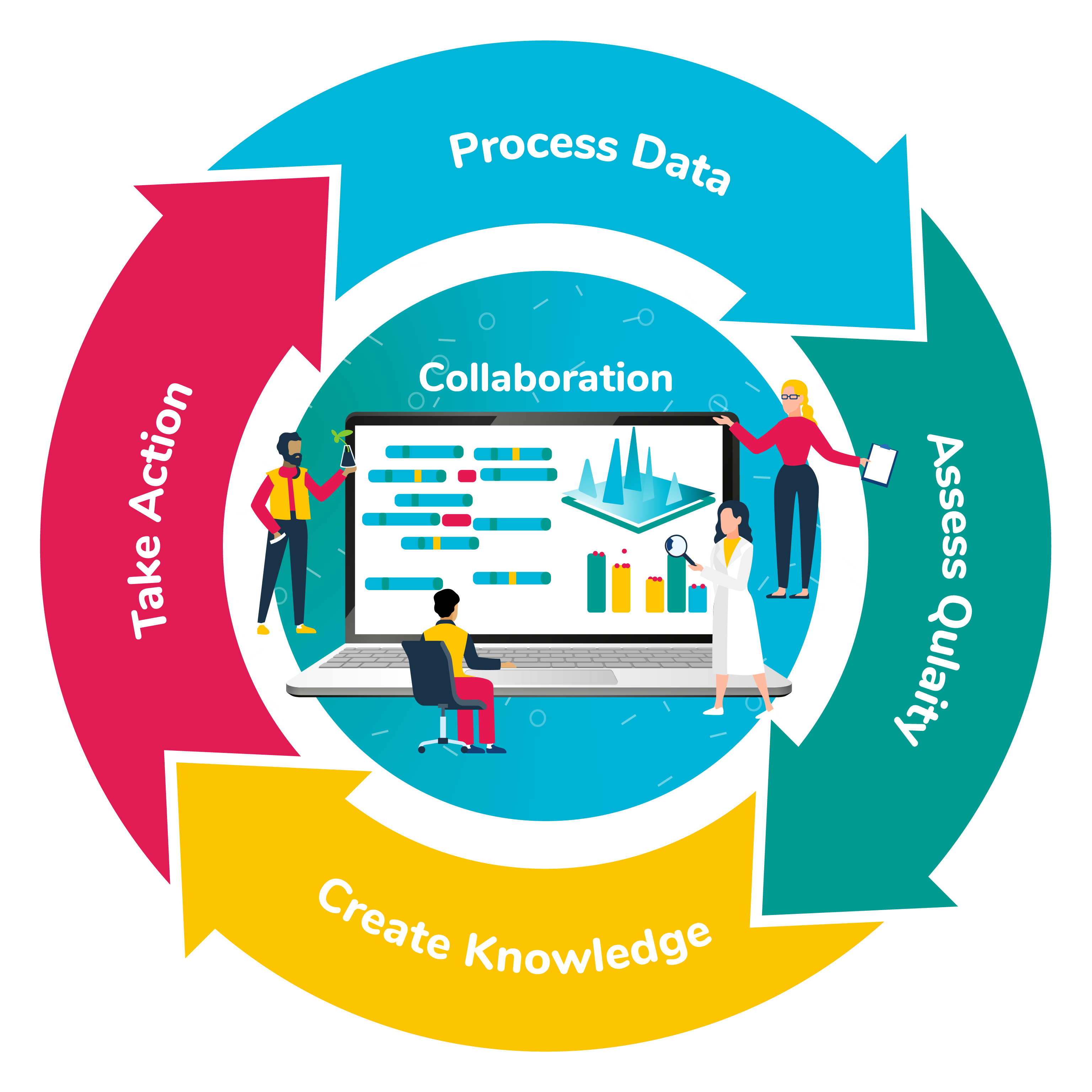 4 Step Process: Process data, Assess Quality, Create Knowledge, Take Action