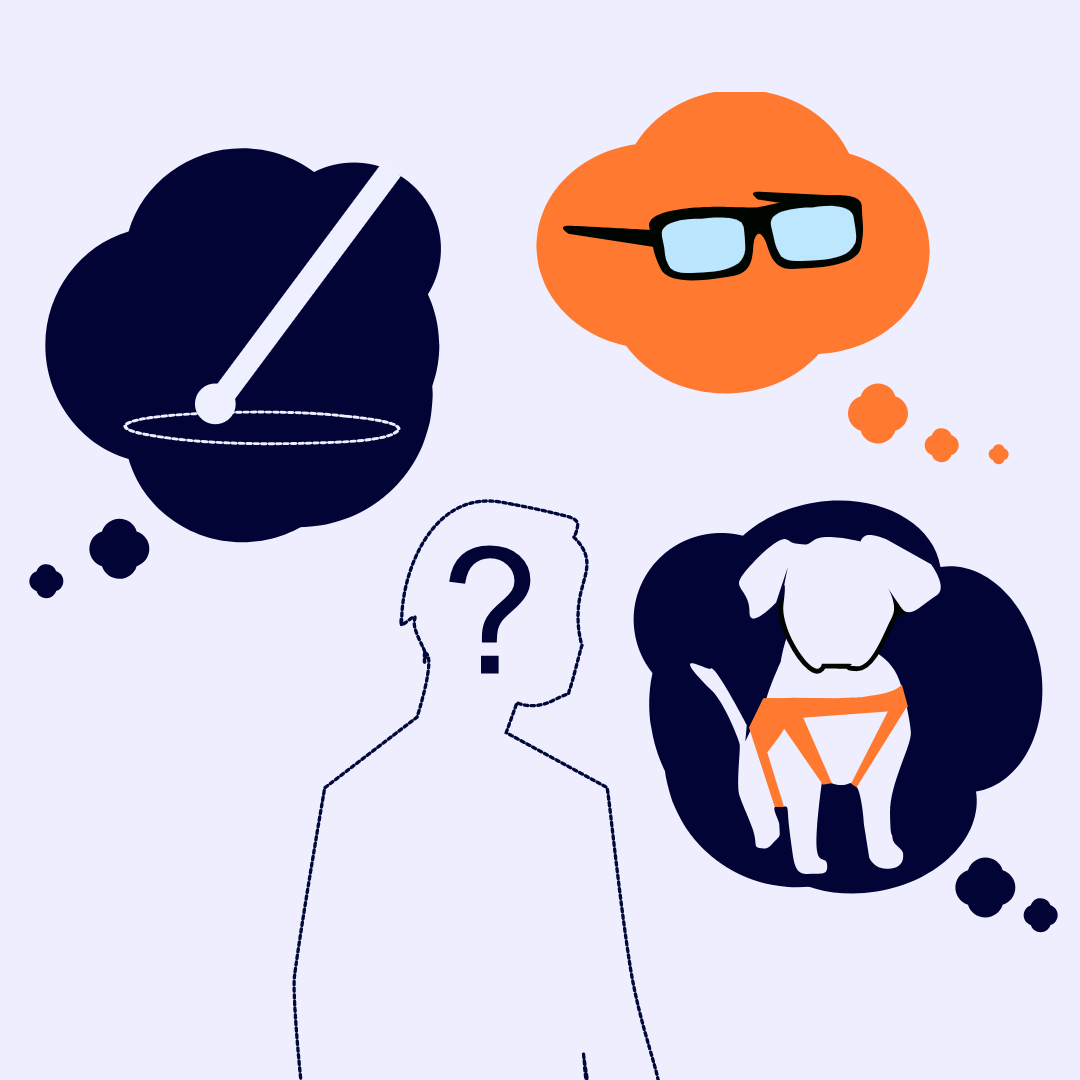 A transparent man who is surrounded the tinted glasses, white cane and a guide dog
