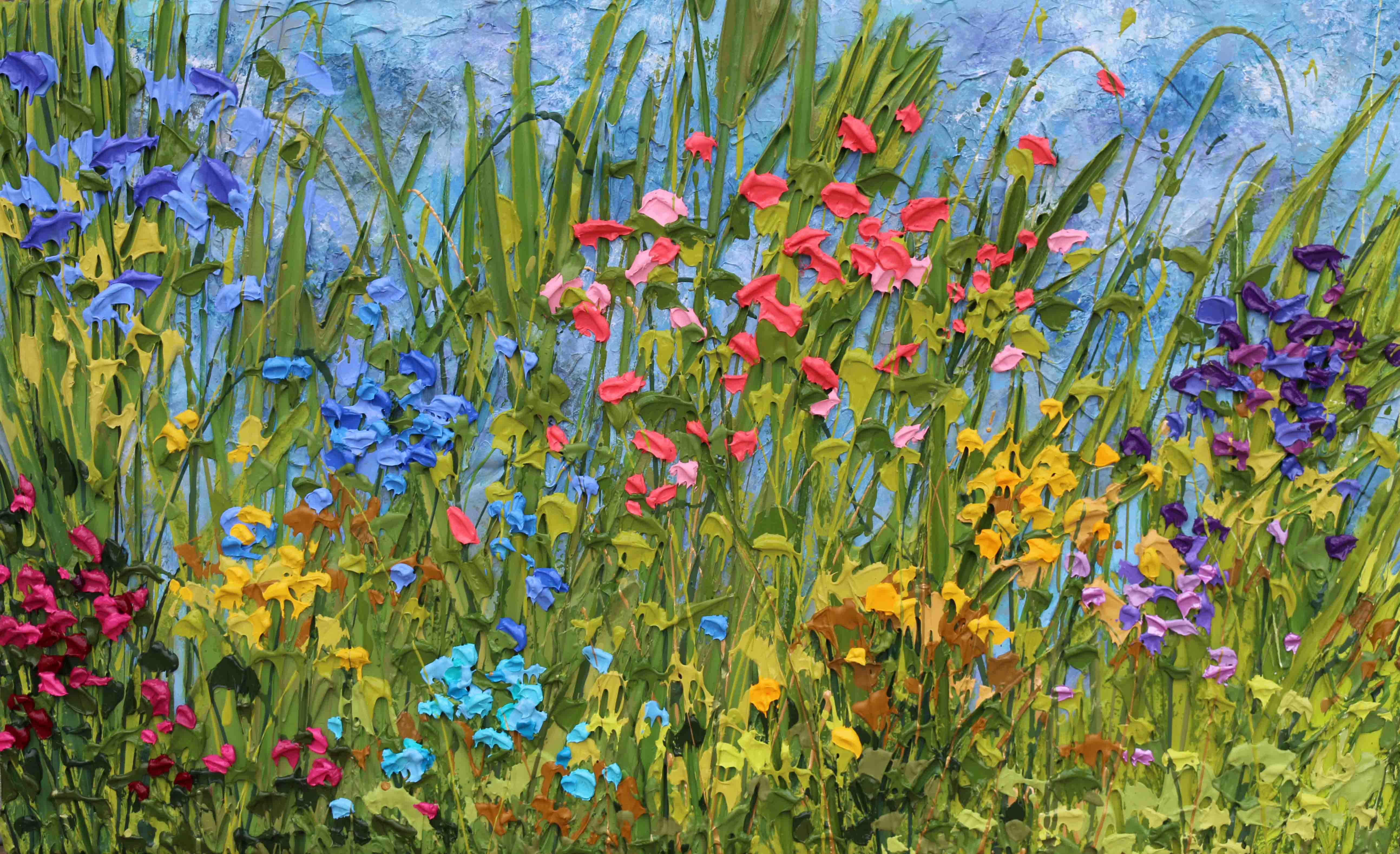 "Jeff's painting of colourful flowers called ""Summer in Chatham""  Acrylic on Heavily Textured Canvas"