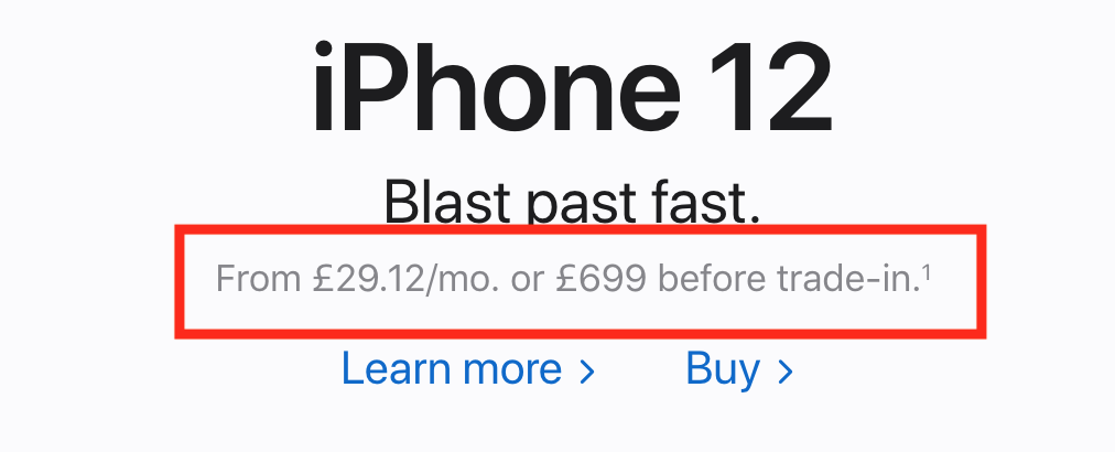 iPhone 12 advertisement which has very low contrast of description