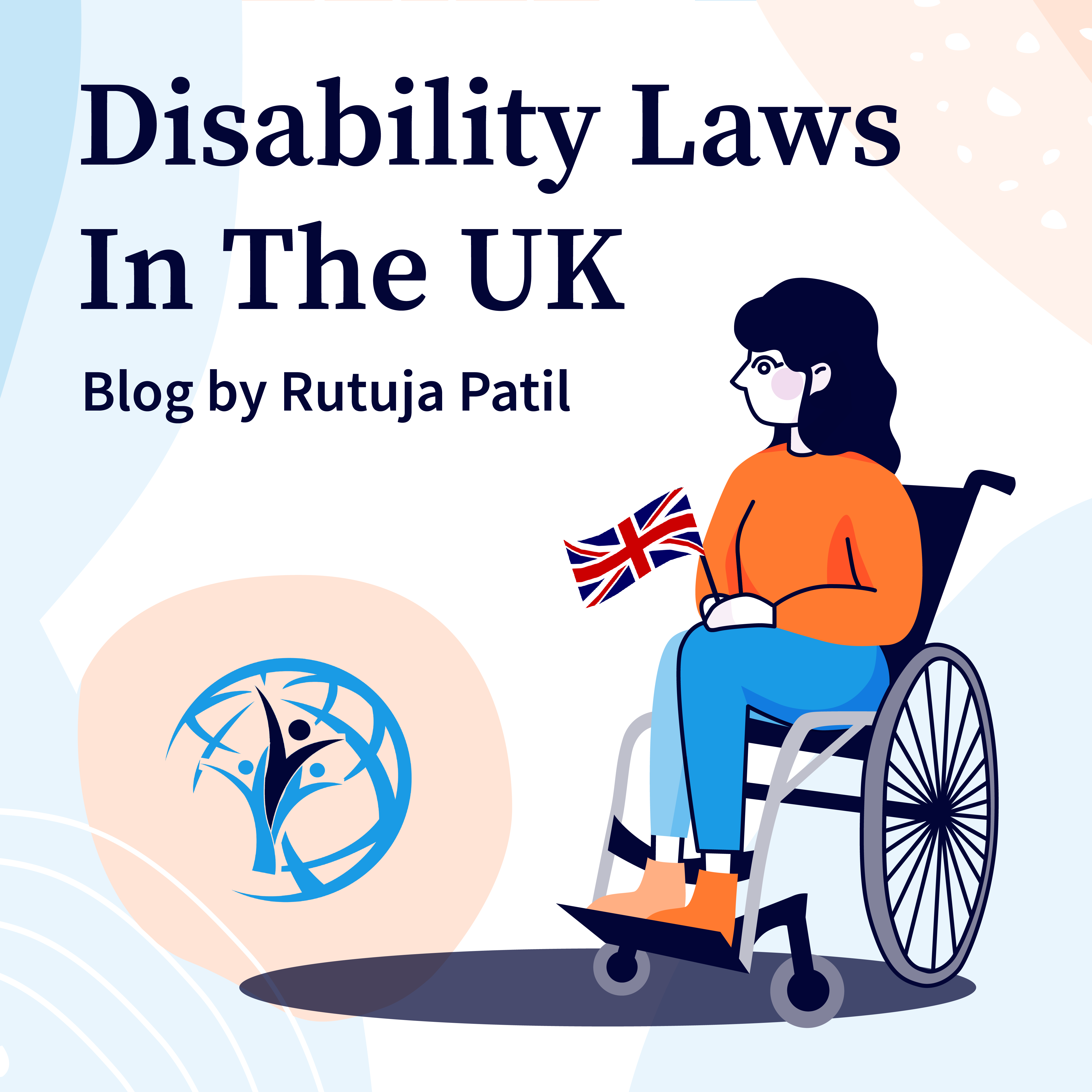 A girl is sitting on the wheelchair and holding British flag.