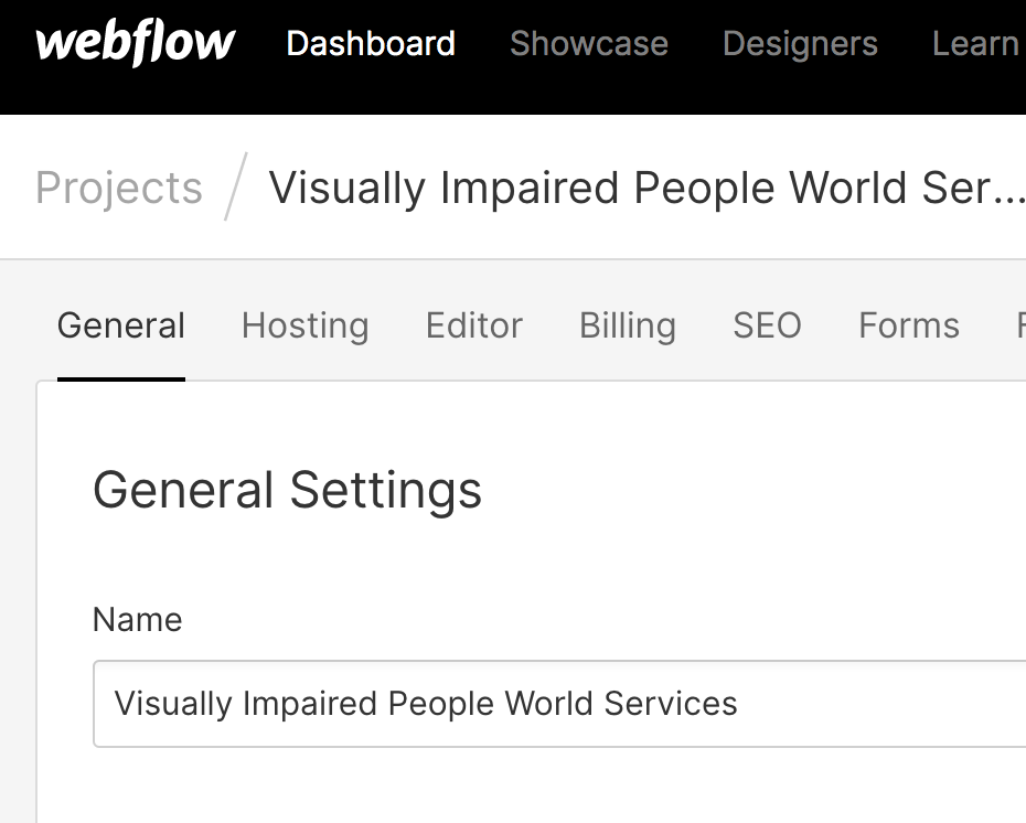 The screenshot from the webflow shows a menu where you can pick the general settings.