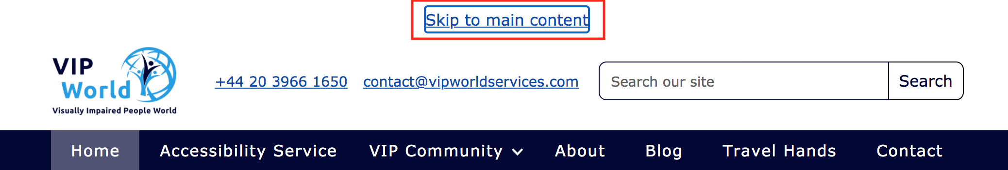 The screenshot from vip word services website navigation that shows the link named 'skip to main content'