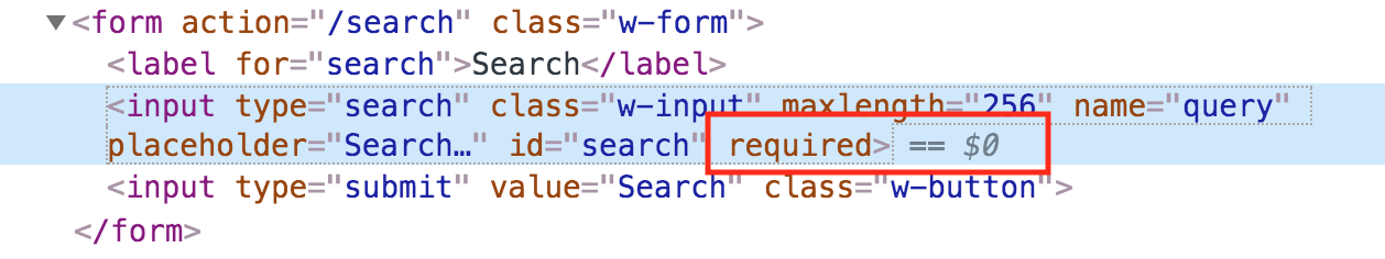 The screenshot of the HTML code shows the 'required' attribute for search