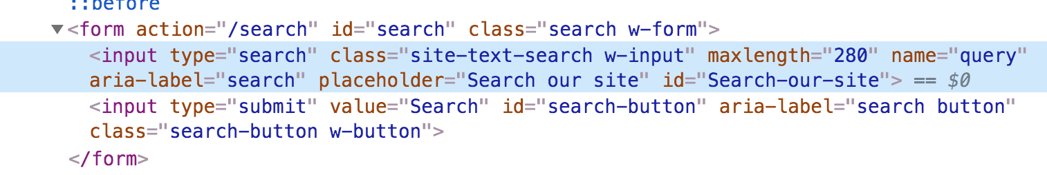 The screenshot of the HTML code shows the code without the 'required' attribute for search