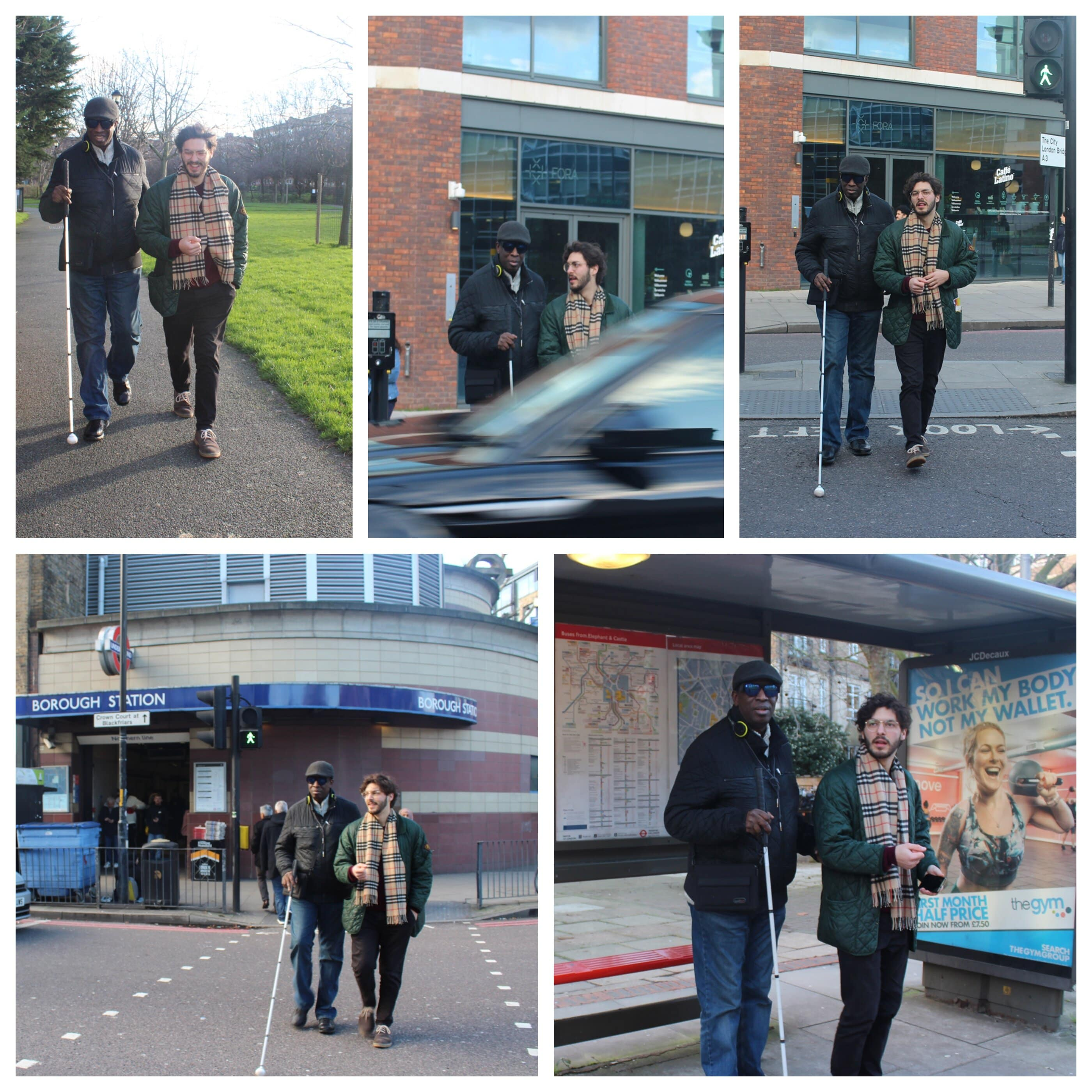 Collage from travel points of a visually impaired person and a volunteer