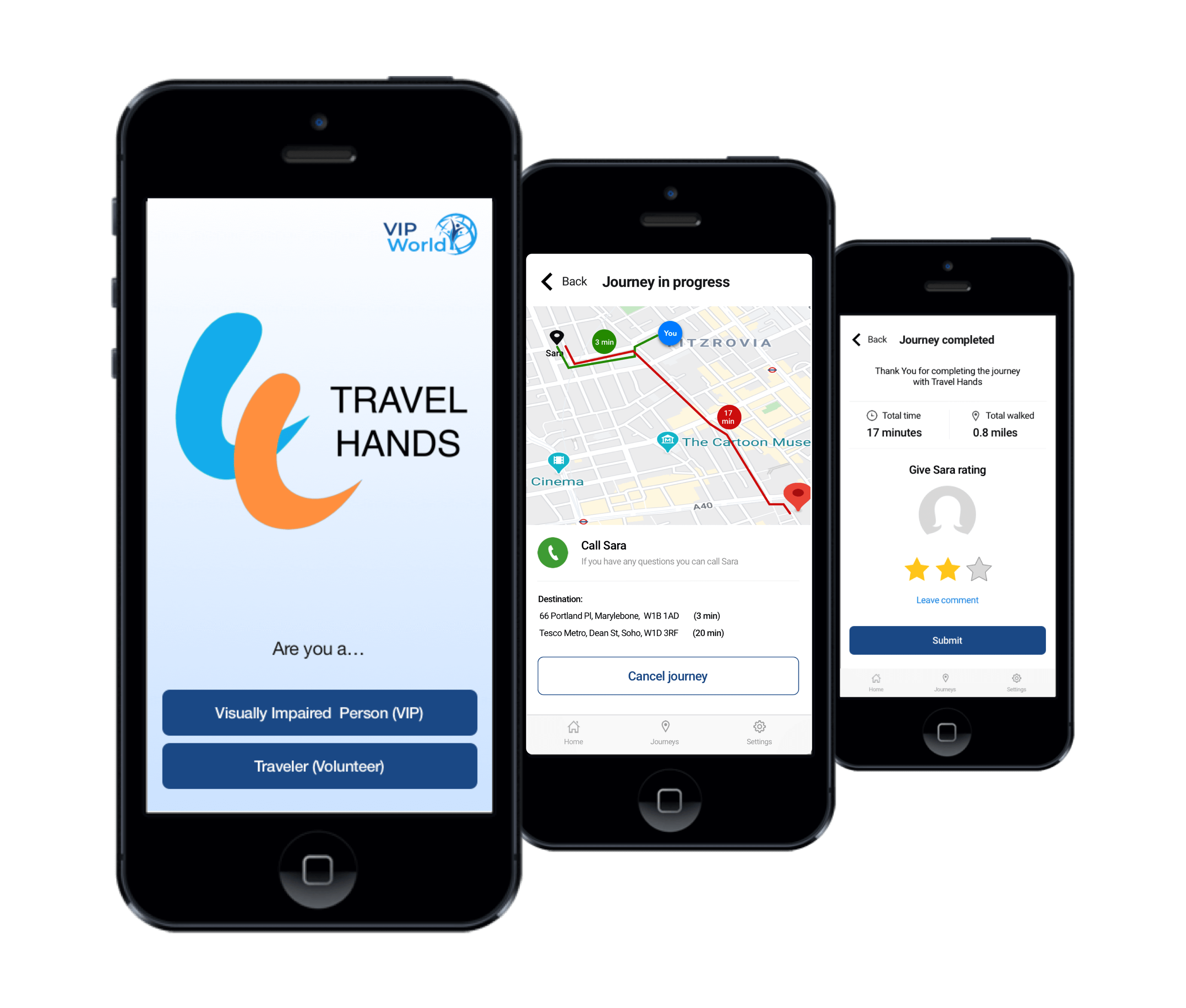 Three screens of the travel hands app