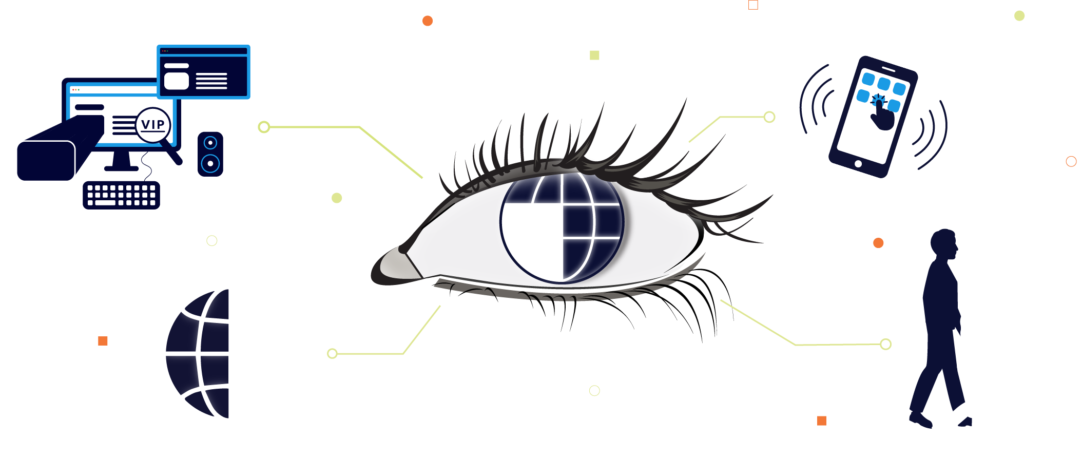 The eye's pupil representing a world where you can access technology to make life easier
