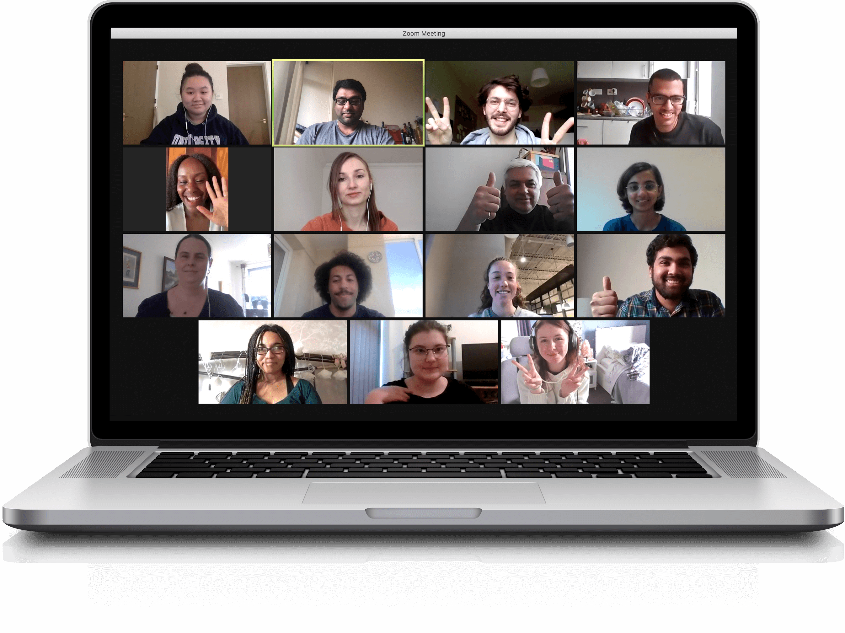 The screenshot of our team from the online meeting