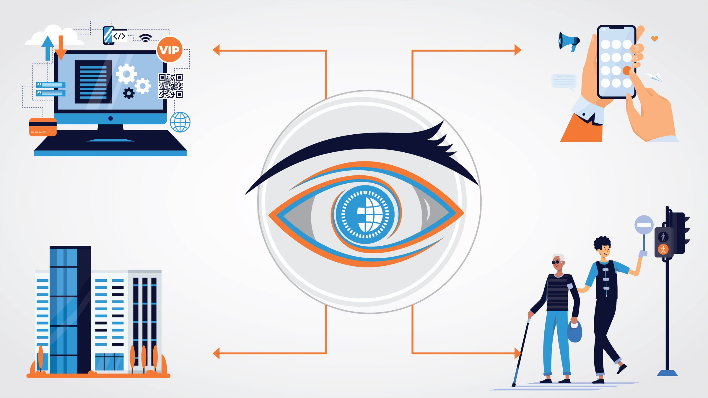 The eye's pupil representing a world where you can access technology to make life easier for VIP (Visually Impaired People)