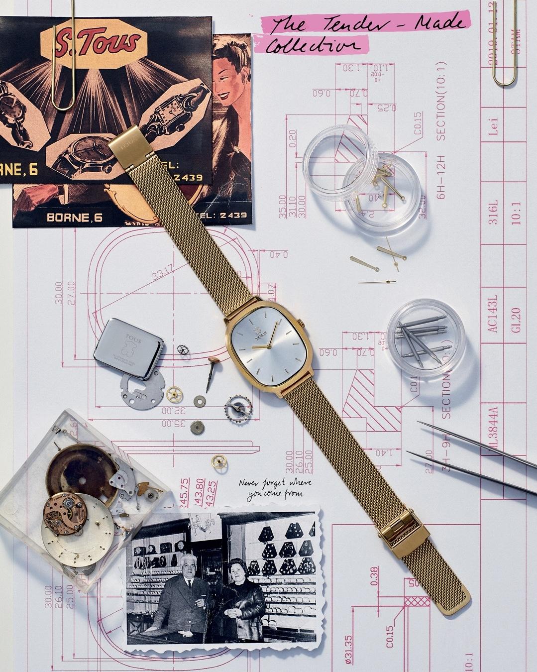 watch design Tous watch on a technical plan