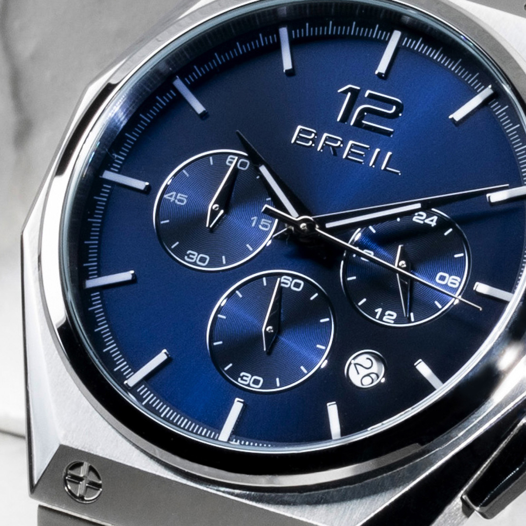 rodolphedesign breil watch with blue dial and metal bracelet for gent
