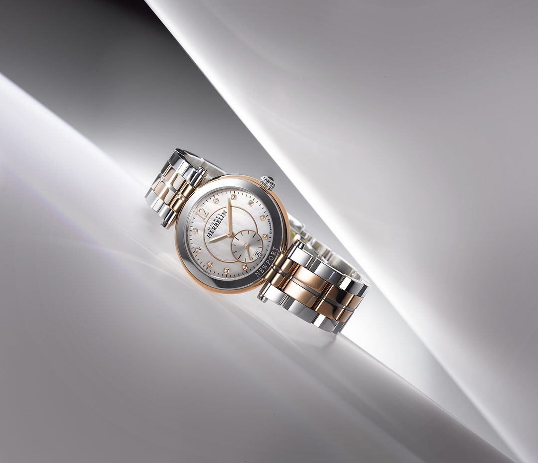 Rose gold and steel lady watch