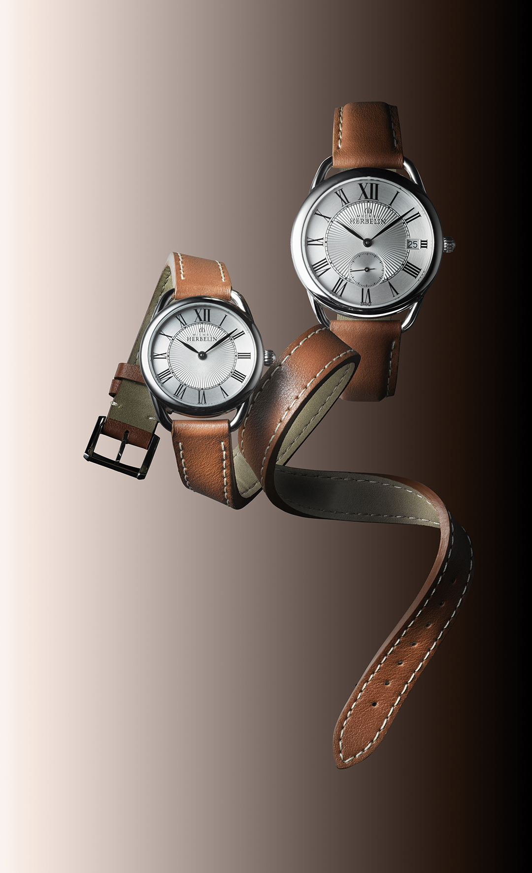 Inspiration watch with brown leather strap