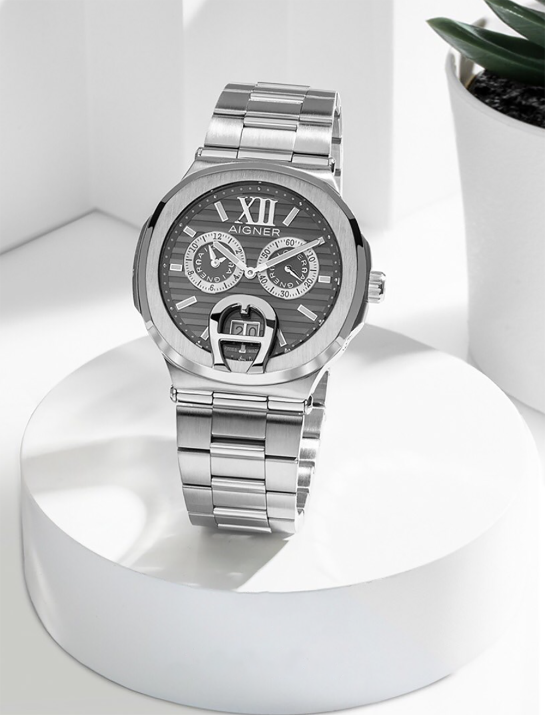 watch design aigner watch with grey dial and metal bracelet for gent