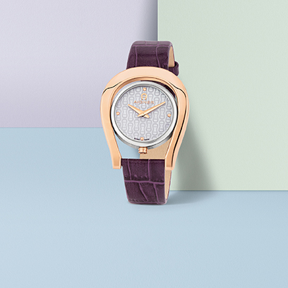 watch design aigner lady watch with leather purple strap
