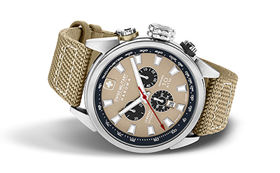 Chronograph watch desert colored watch in steel