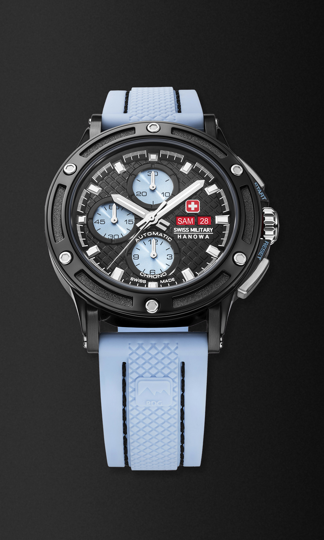 black DLC watch with a blue rubber band