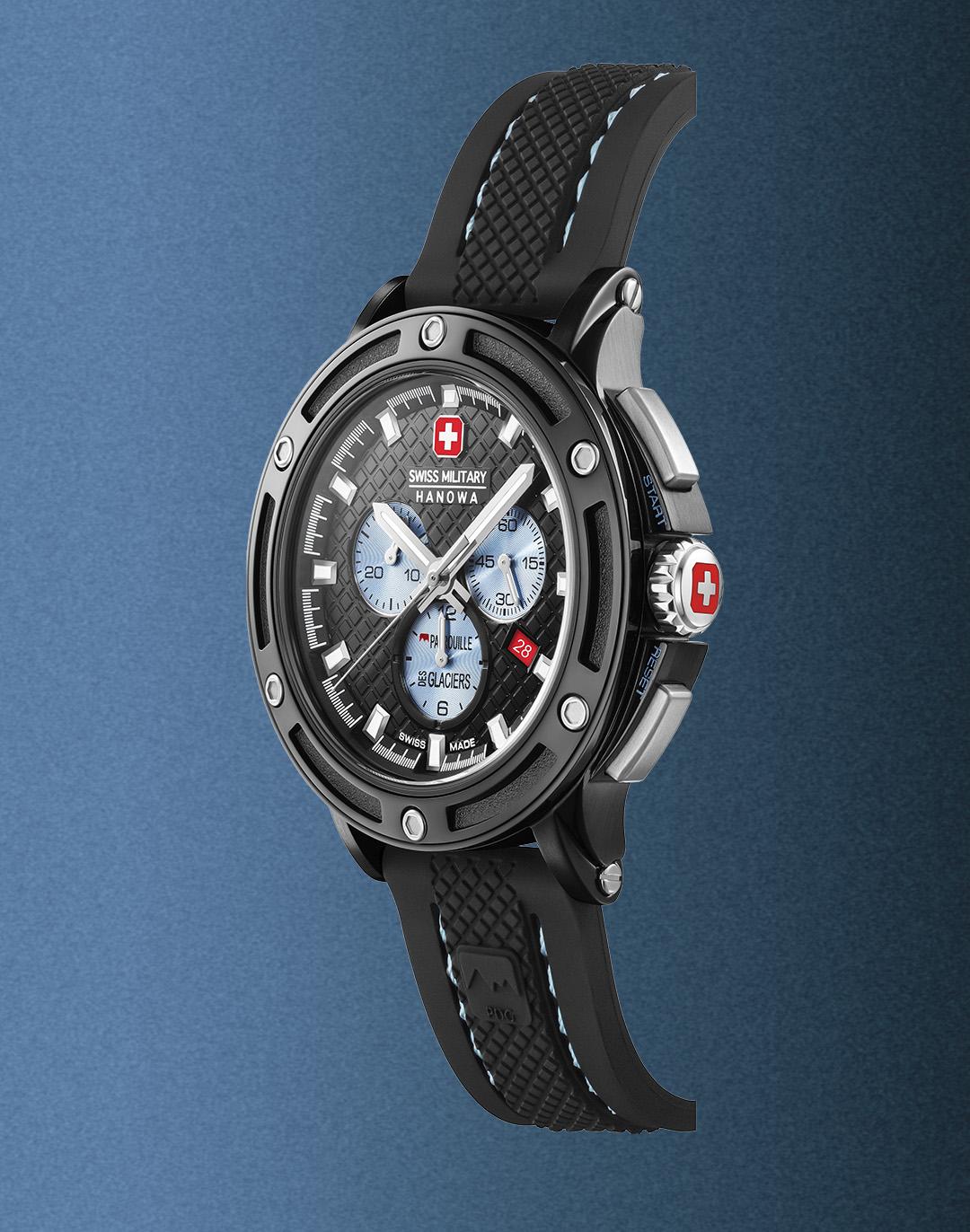 chronograph black DLC watch white a black rubber band