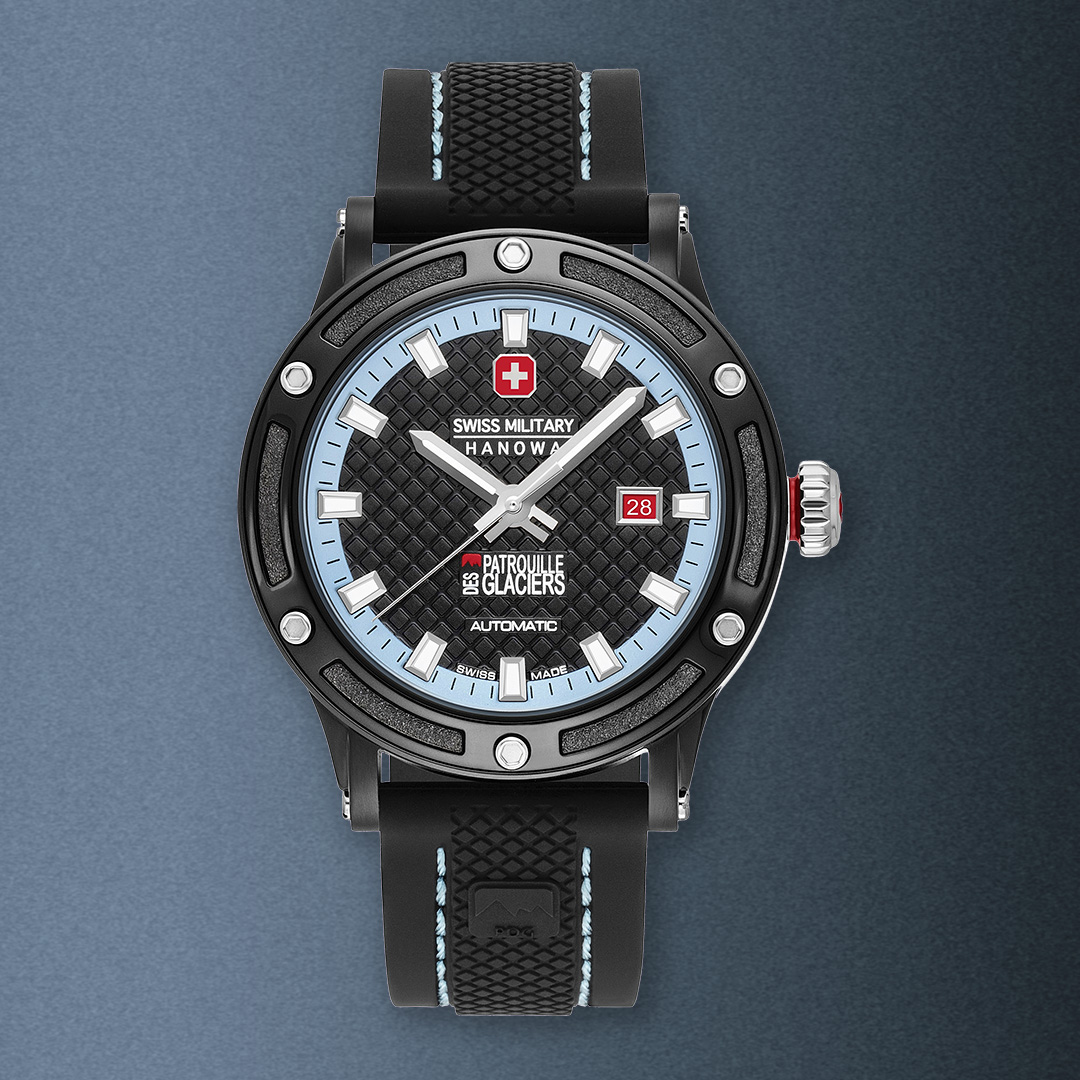 front view of a black DLC steel watch with a black dial