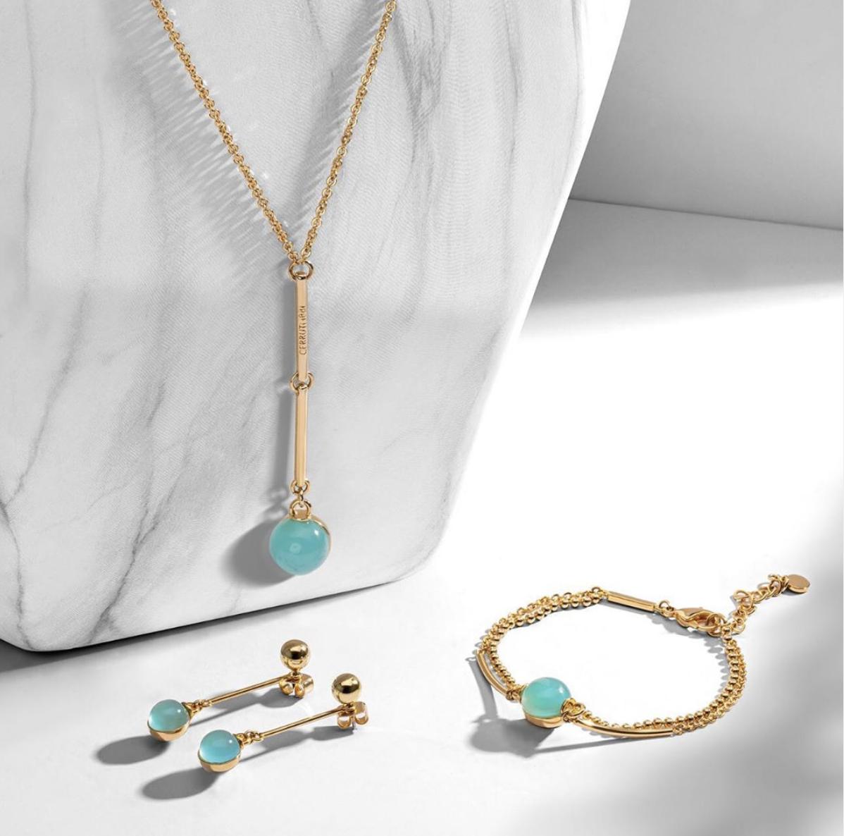 rodolphedesign bijoux cerruti 1881 doré avec pierre bleue