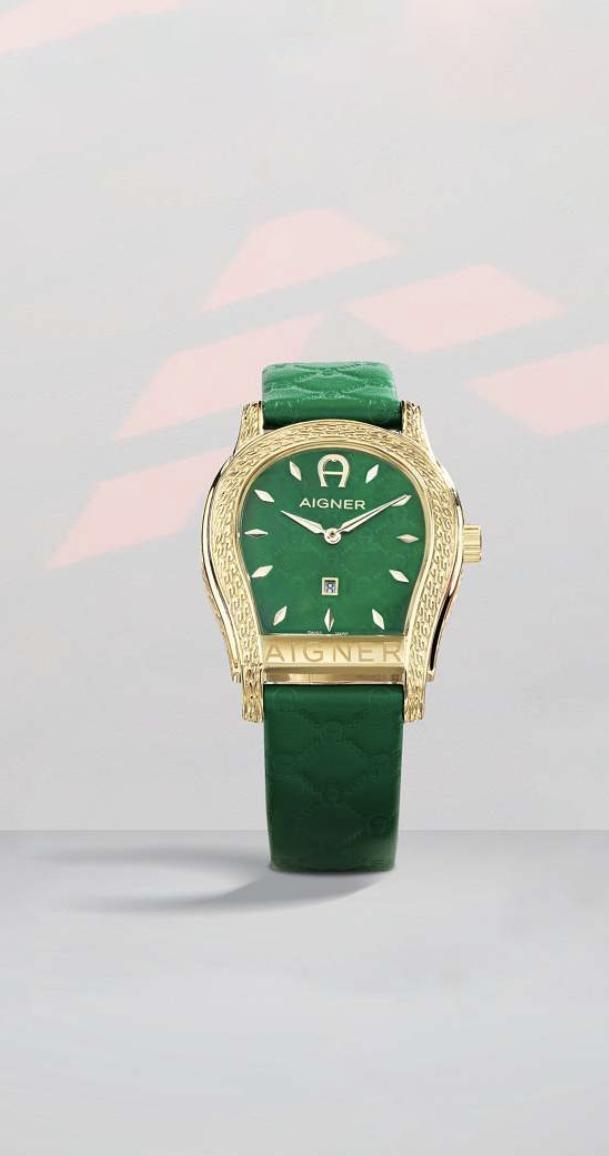watch design montre Aigner fer à cheval vert