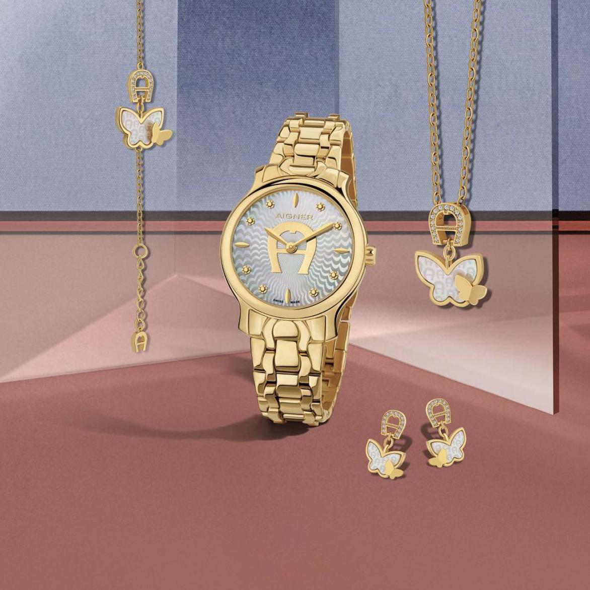 watch design montre Aigner ronde avec bracelet metal