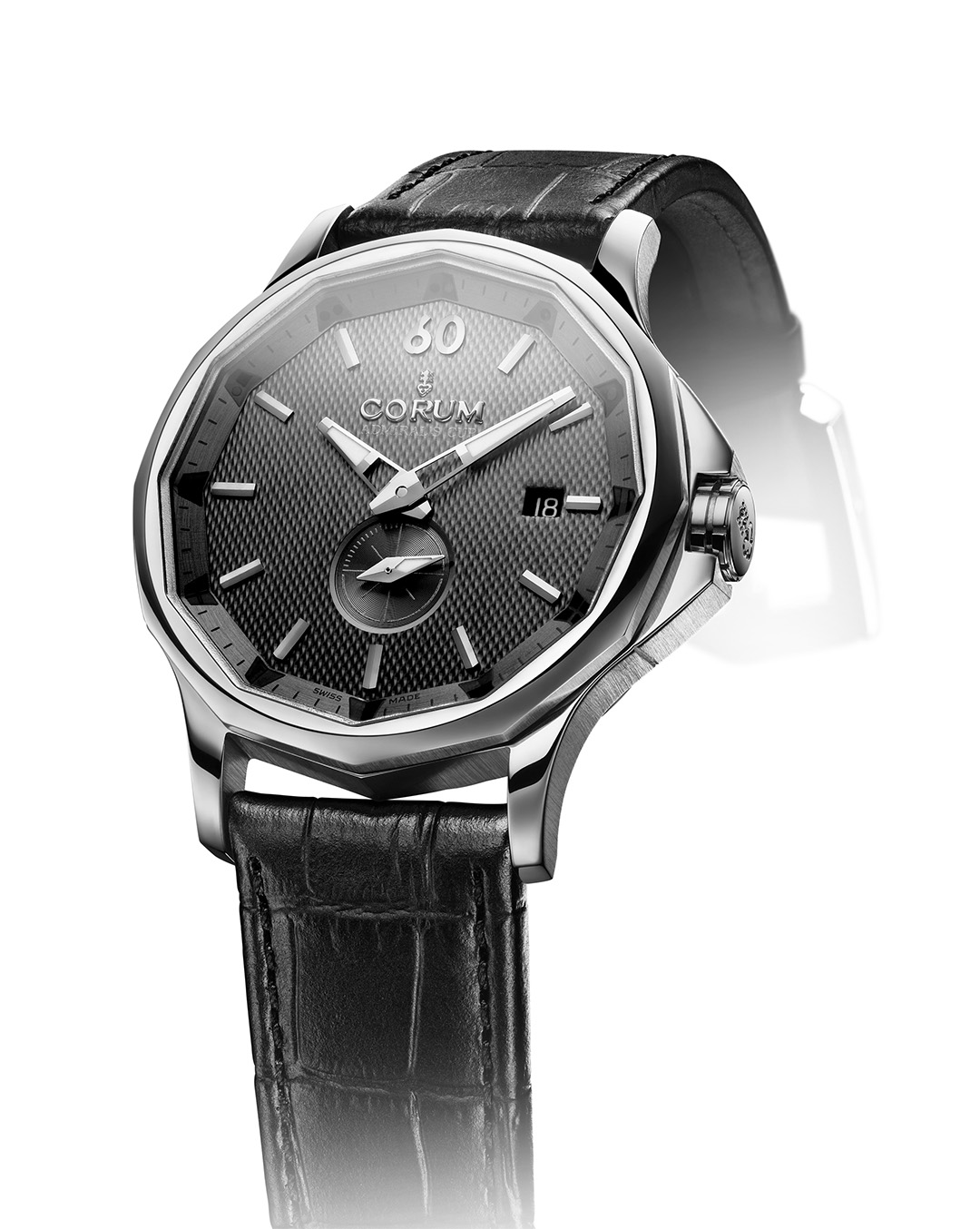 Admiral's Cup Legend steel with a black dial and leather strap