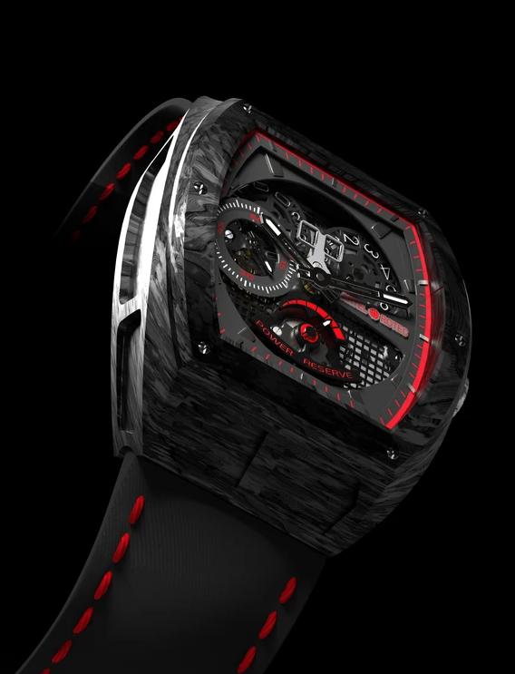 design horloger artel rotec carbone rouge