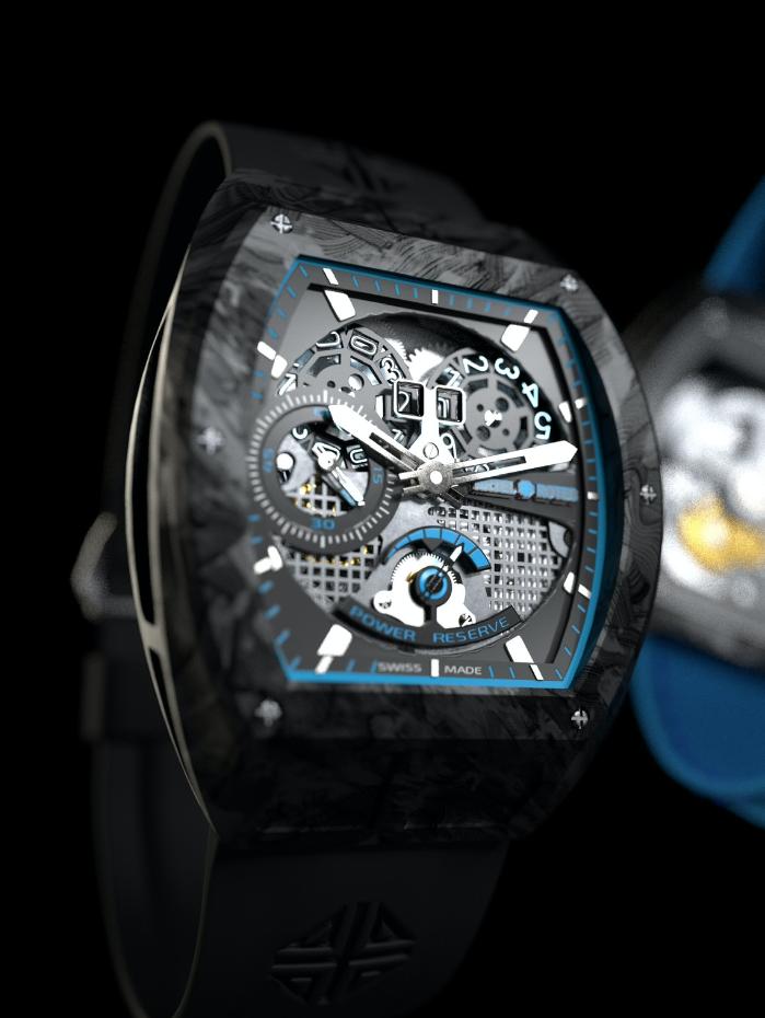 design horloger artel rotec carbone bleu