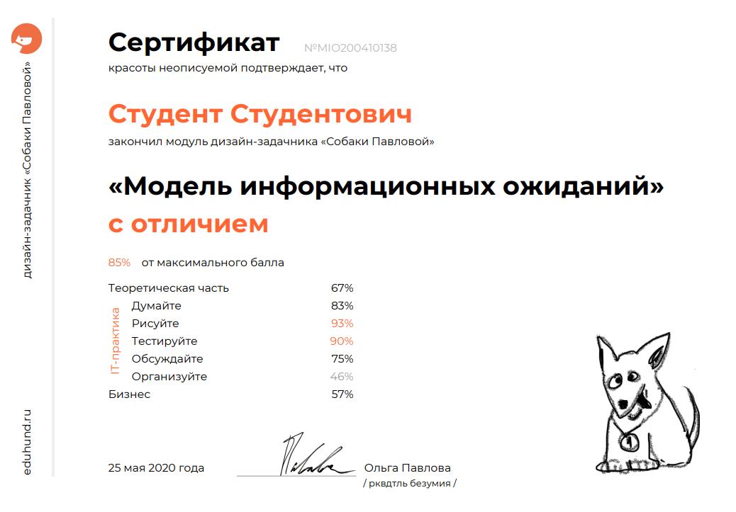 Сертификат • Дизайн-задачник «Собаки Павловой» • 300+ упражнений для IT-специалистов