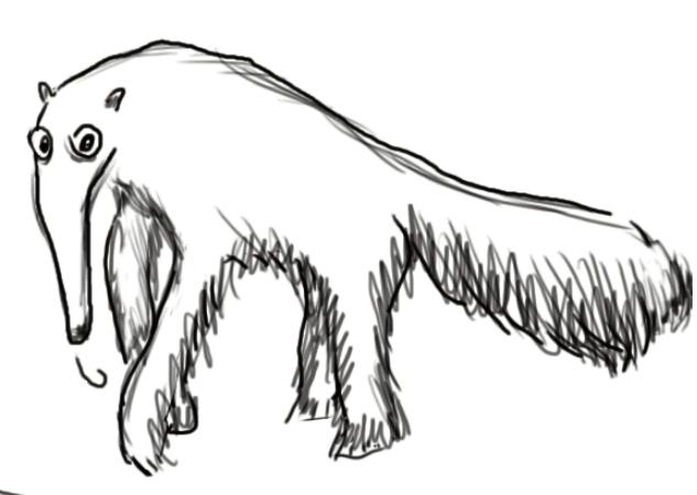 Муравьед, талисман  модуля «Несекретные секреты текстов» дизайн-задачника «Собаки Павловой»