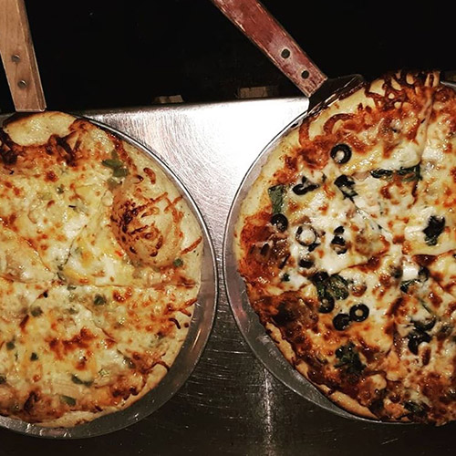 2 woodfire pizzas