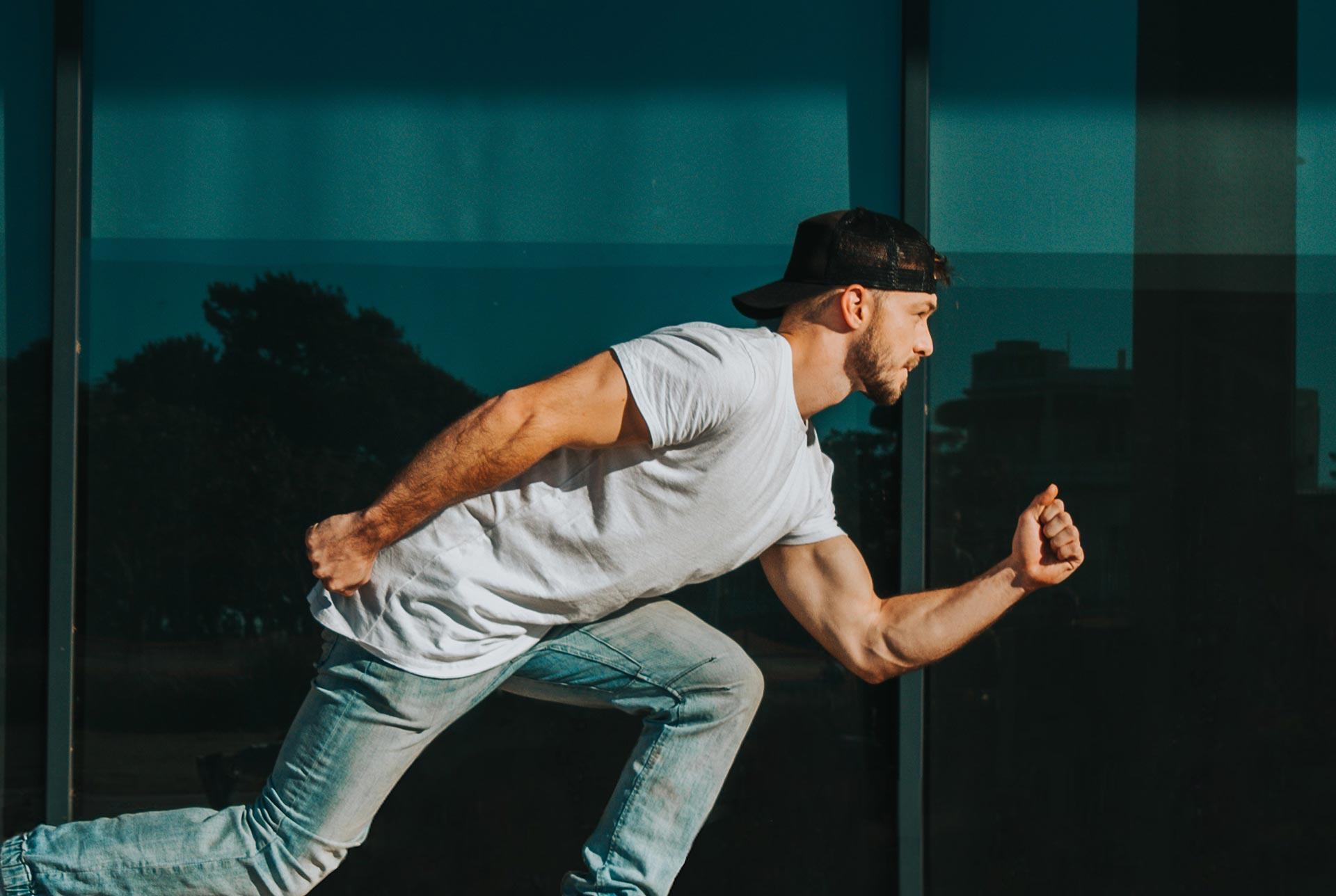 Hero image of man running