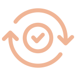 Complete Interior design service Icon composed by a round checkbox with two arrows around it
