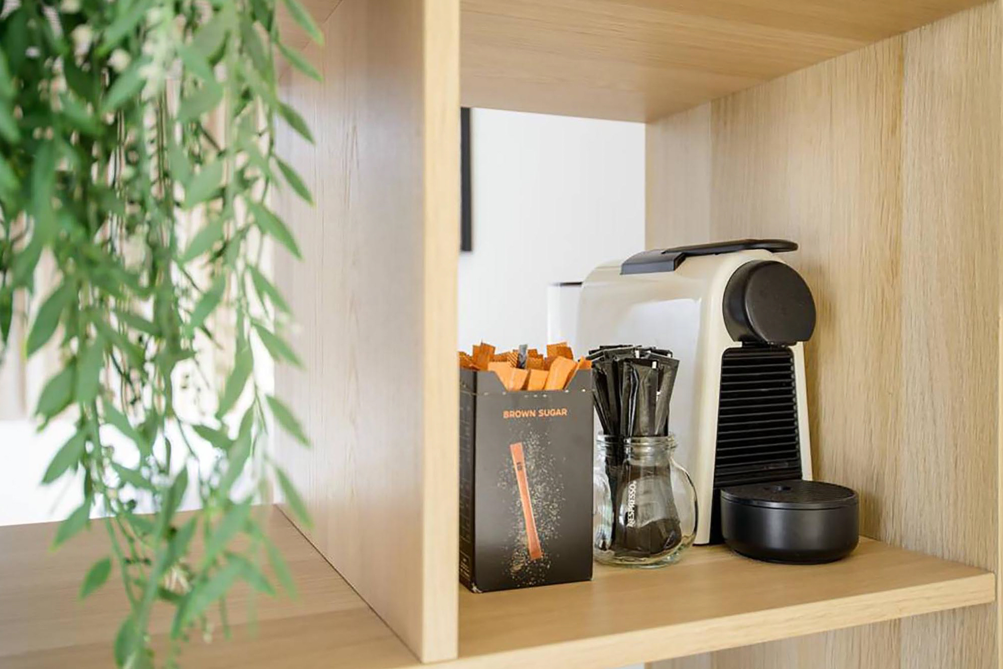 White Nespresso machine in a wood library with a plant decoration on the left side.