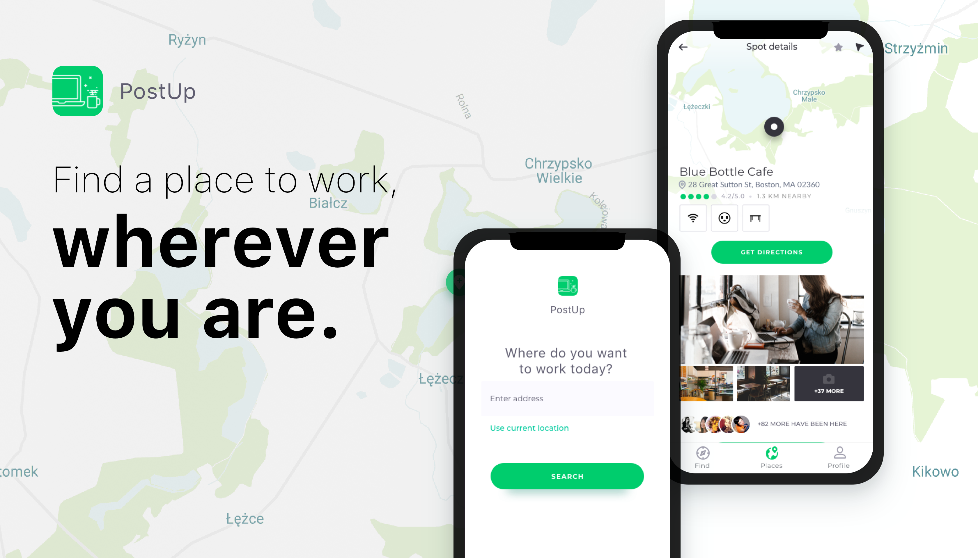 App design for finding a co-working space