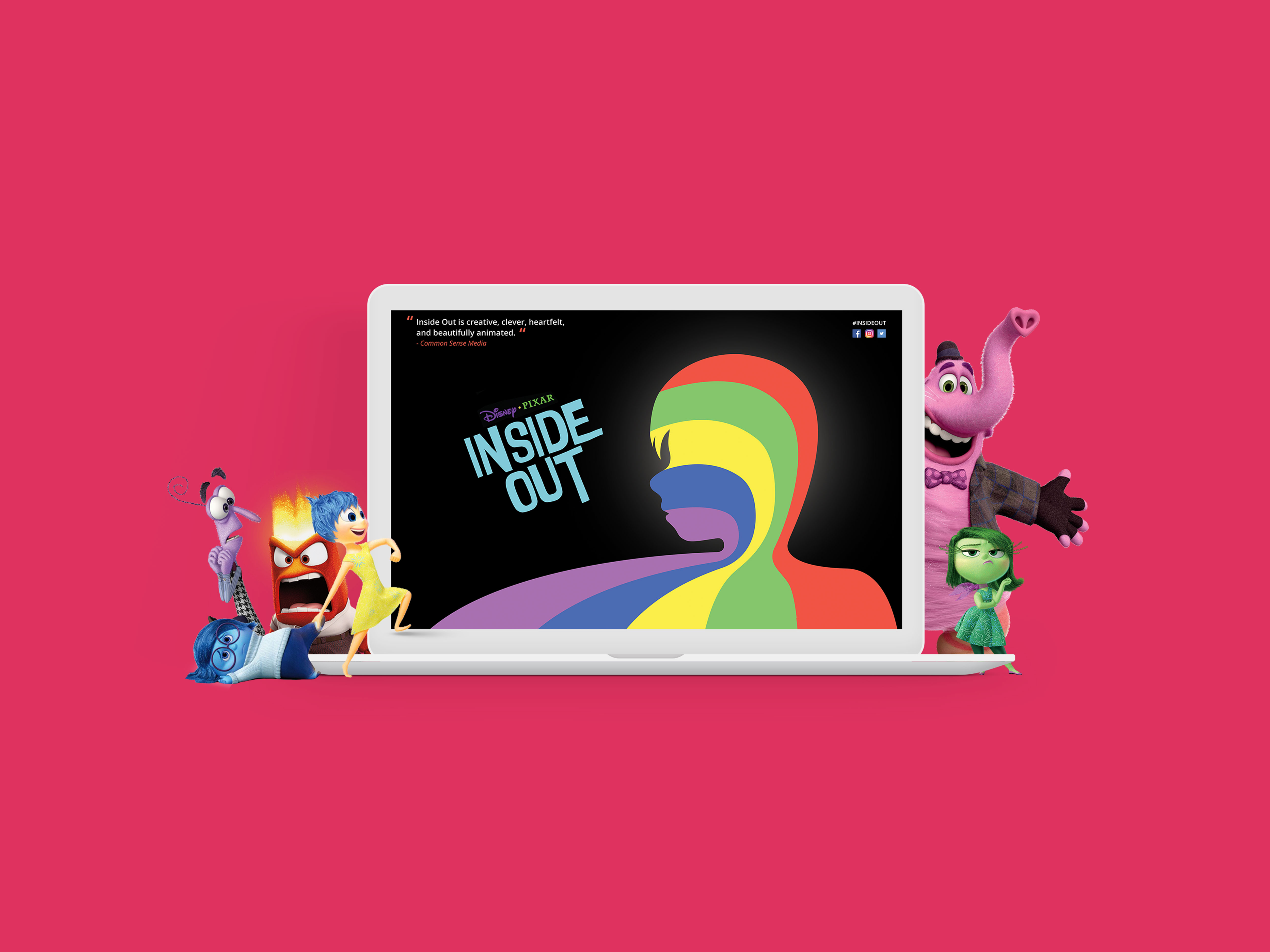 Characters of the movie surrounding a laptop displaying the landing page for movie 'Inside Out'