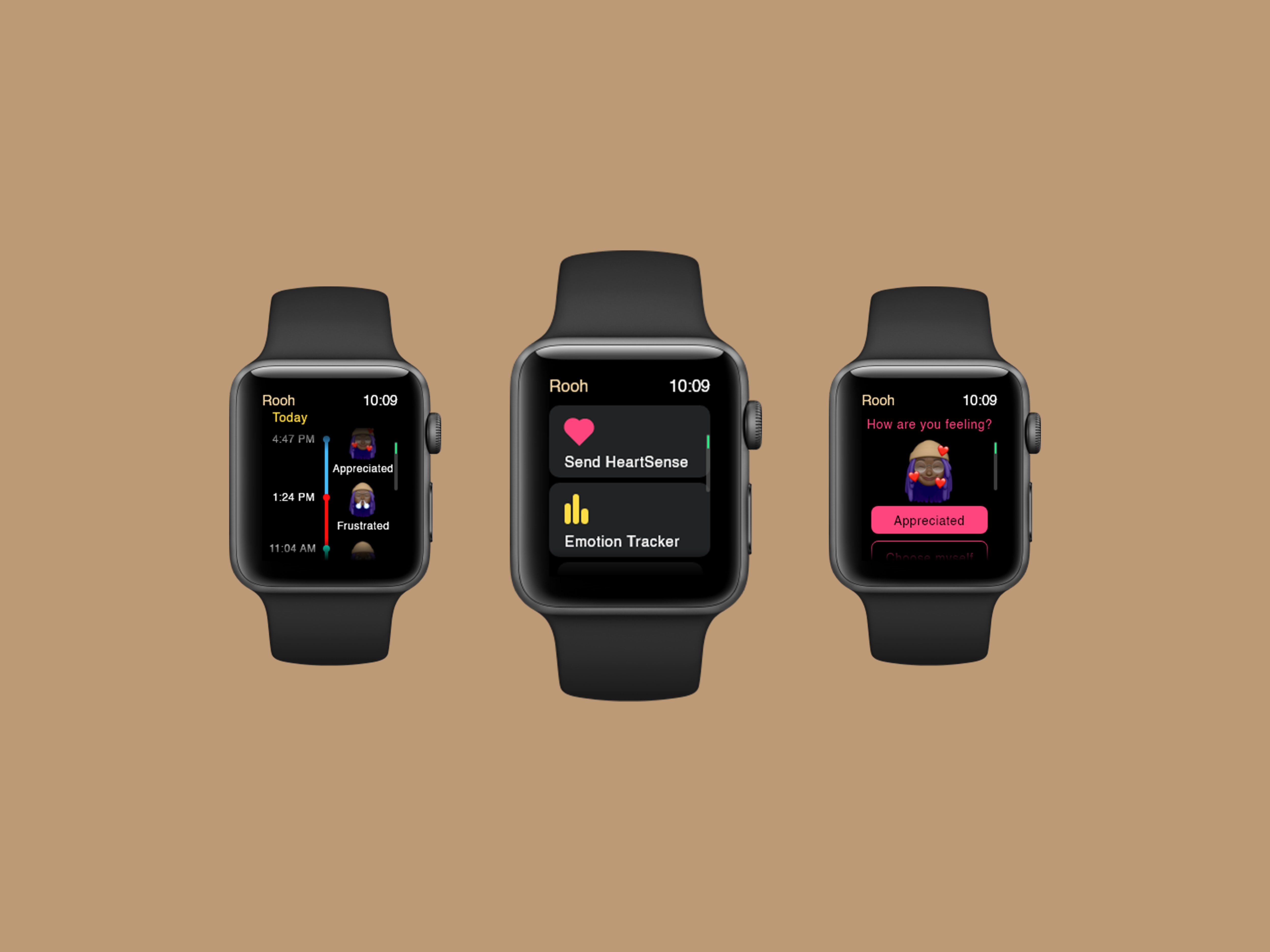 Three watch screens displaying different sections of Rooh app