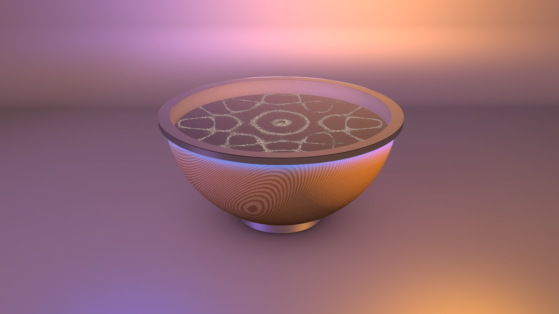 A wooden bowl product with glass on top