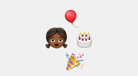 Emojis of a girl, cake, balloon, and party popper