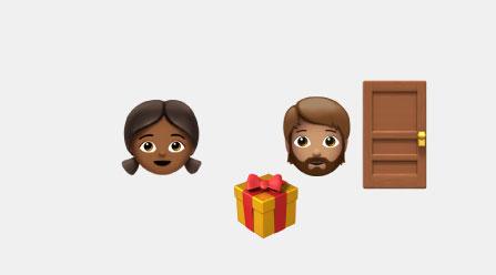 Emojis of a girl, boy, gift, and door
