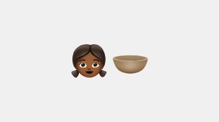Emoji of a girl and brown bowl