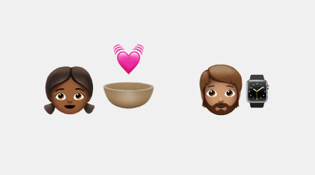 Emojis of a girl, boy, brown bowl, watch, and heart