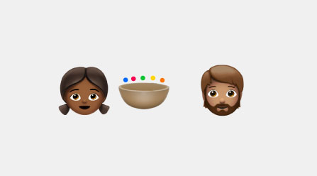 Emojis of a girl, boy, and brown bowl