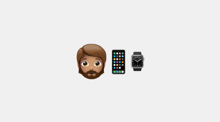 Emojis of a boy, mobile phone, and watch