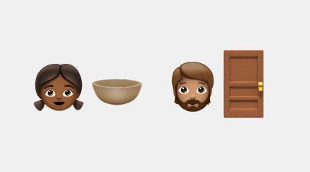 Emojis of a girl, boy, and door