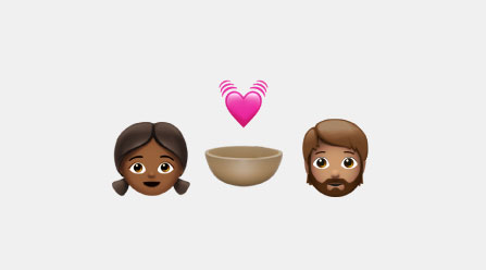 Emojis of a boy, girl, brown bowl, and heartbeat