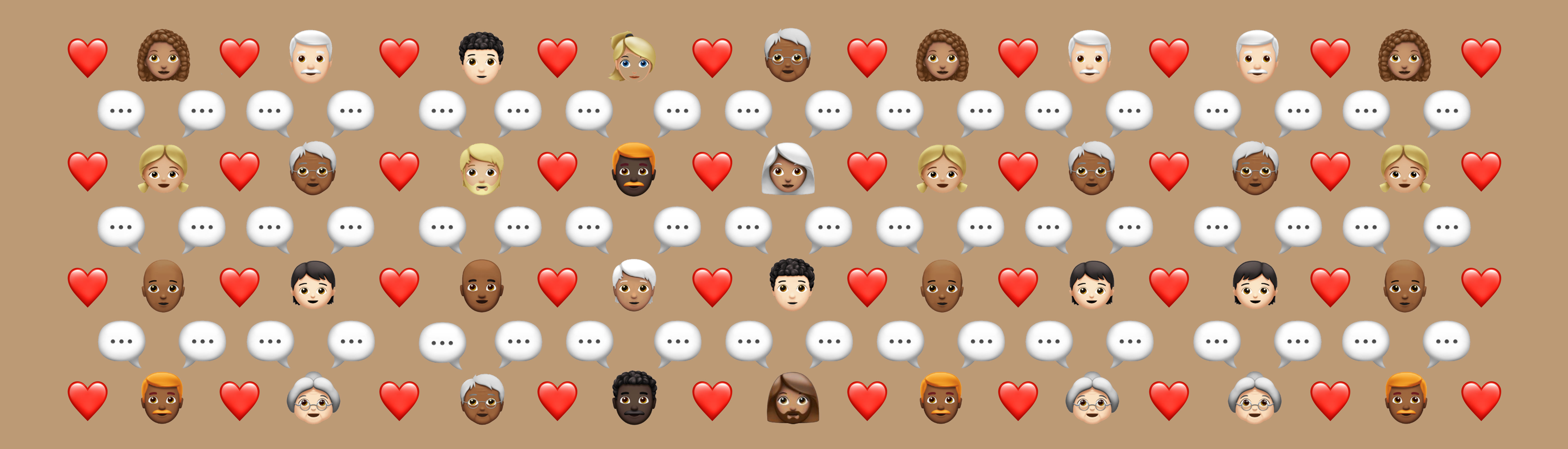 Multiple emojis of faces and hearts
