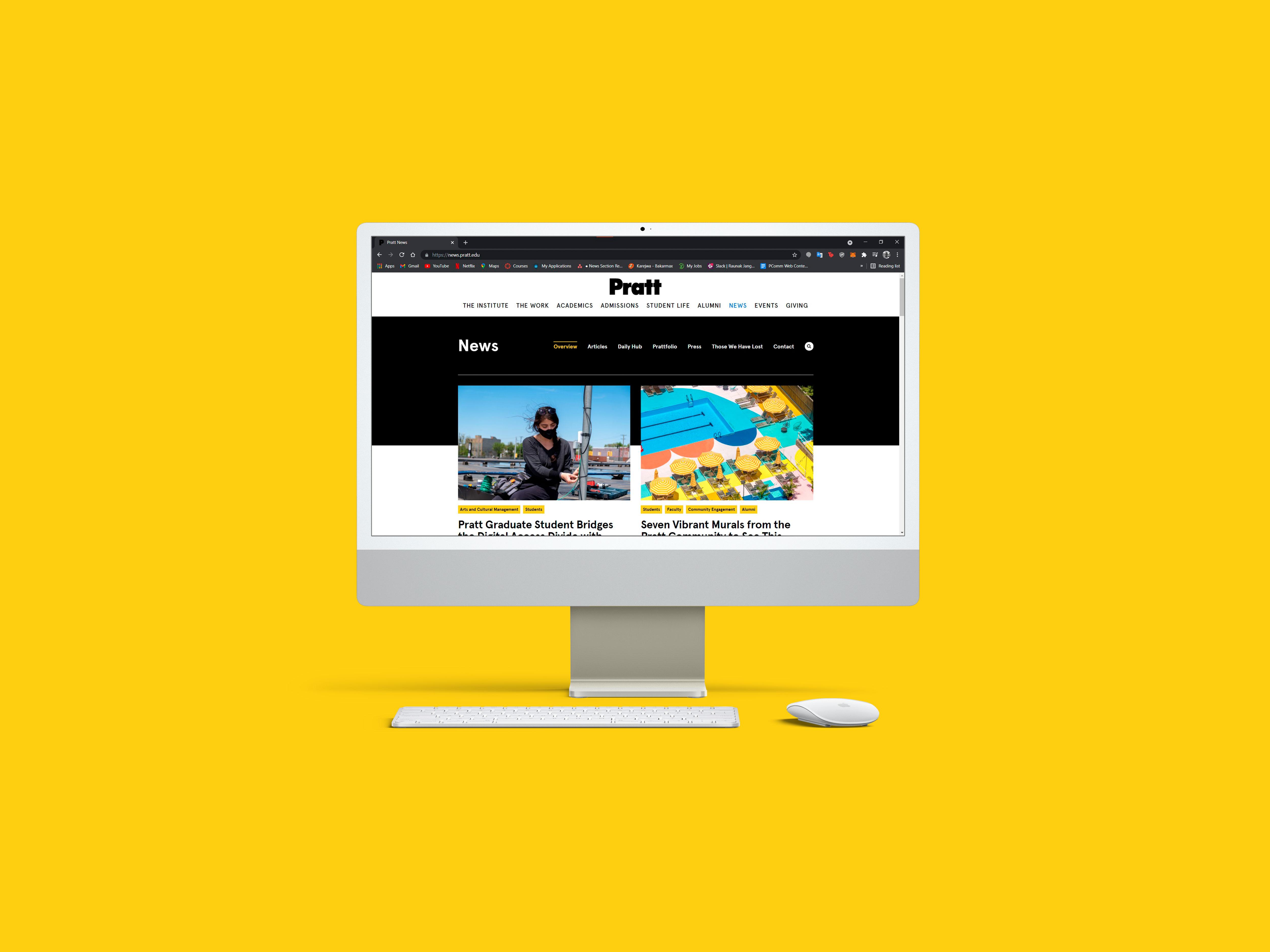 Desktop screen displaying the Pratt News website.